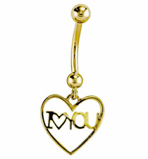 """14K Yellow Gold Heart Frame """"I Love You"""" Belly Button Ring Piercing"""