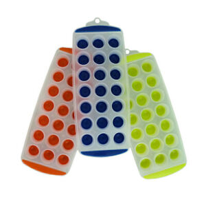 Easy Pop Out ICE CUBE TRAY 21 Round Slots Silicone Mould Jelly Shots/Chocolate