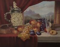 Signiert P Waigner - Stillleben mit Früchten Krug Glas und Schatulle