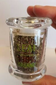 Real Leaf Herb Glass Stash Pot Container Storage Small & Large - FREE POST