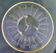 Vtg 50s Clear Reverse Cut Glass/Gold Large Relish Hors D'oeuvres Platter Tray
