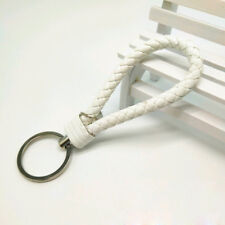 Chain Ring Key Fob Gift Fashion Keychain Leather Rope Strap Weave Keyring Key