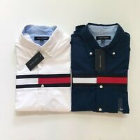 NWT Tommy Hilfiger Men's Signature Stripe Cotton Oxford Long Sleeve Causal Shirt