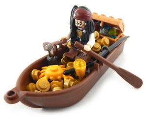 NEW LEGO CAPTAIN JACK SPARROW with TREASURE in BOAT MINIFIG LOT potc pirate gold