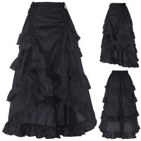 Vintage Gothic Victorian Ruffle Bustle Skirt Lady Steam Punk Retro Gothic Dress