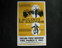 "1965 ANTONIO JANIGRO CELLO CONCERT Poster Window Card 14x22"" vintage SOL HUROK"