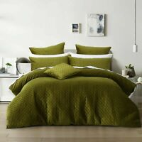 Alden Olive Green Quilted Plush Velvet Quilt Doona Duvet Cover set by Bianca