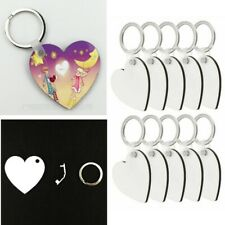 10 X Blank Heart Mdf Board Sublimation Printing Keyrings For Heat Press Machine