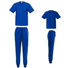 Unisex STRETCH Jogger Scrub Set Solid V-Neck Top Men Women Jogger Nurse Uniform