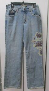 Z CAVARICCI Vintage Embroidered Light Wash Hippie Jeans Women's Size 14