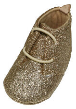 First Impressions Baby Girl 3-6 Months Metallic Glitter Shoes Champagne Gold NWT
