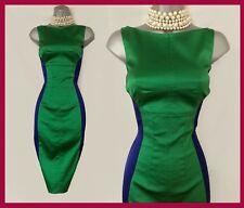 Stunning Karen Millen 10 Green Blue Satin Cocktail Evening Elegant Pencil Dress