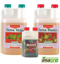 Canna Fertilizer Set Terra Vega & Flores JE 1 Liter + BOOST Cultivation / Grow