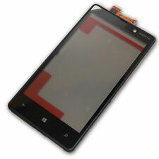 TOUCH SCREEN GLASS FOR NOKIA LUMIA 820 BLACK WITH FRAME SPARE PARTS NEW