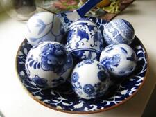 Japanese Large Pottery Bowl + Collection 6 Blue & White Porcelain Balls+ Scraper