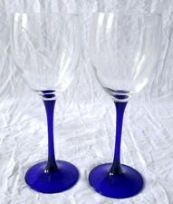 Mercedes Benz Set of 2 Cobalt Blue and Clear Crystal Wine Glasses w/ Grey Logo