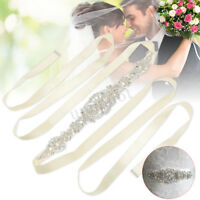 Sparkle Bridal Handmade Ribbon Pearl Rhinestone Crystal Wedding Dress Belt Sash
