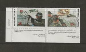 MARSHALL ISLANDS - 1990 MNH INVASION OF DENMARK TABS PAIR - SCOTT 246-247 - E80