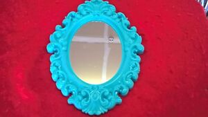New Oval Vintage Antique Style Blue Tone Hanging Wall Mirror Plastic AC-1701LAST