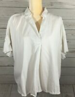 Madewell Womens Pullover Top White Size L Shortsleeve Collar Back Button Detail