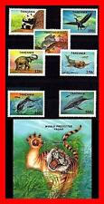 TANZANIA 1994 Protected ANIMALS & birds + S/S MNH panda, whale, tiger, elephants