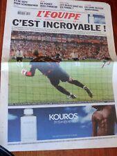 "JOURNAL L'EQUIPE 14 juin 2004 "" C EST INCROYABLE "" ZIDANE FRANCE ANGLETERRE"