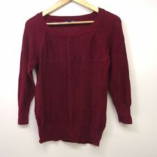 New American Eagle Womens Maroon Red Lightweight Mixed Knit Crew Sweater Size XS