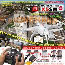 Drone SYMA X5SW FPV HEADLESS visione su smartphone ORIGINALE WiFi +5BATTERIE5+1+