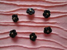 6 BLACK FLOWER BUTTONS  with GOLD BEAD