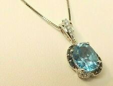 "18"" LeVian 14K White Gold Blue Topaz, Sapphire & Diamond Pendant Necklace $1,000"