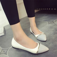 Women Pointed Toe Pumps Slip On Casual Loafers Stitching Flat Boat Shoes Size