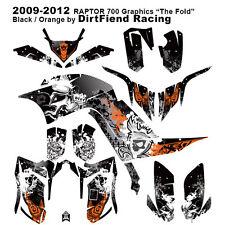 "Raptor 700 Graphics 09-12 DFR ""Fold"" Black Orange Full Wrap Raptor700 ATV"