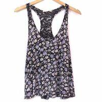 ANTHROPOLOGIE ELODIE Purple Blue ish Black Floral Lace Crop Top Tank Medium