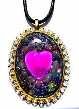 Healing Amethyst Rose Quartz Orgone Heart Pendant reiki meditation spiritual
