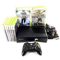 Microsoft Xbox 360 S Slim 4GB Black Console Bundle Lot w/ 8 Games, 1 Controller