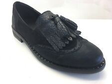 Ladies Womens Oxford Brogue Tassel Low Heel Smart Office Loafers Shoes Size 5