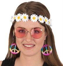 60's Womens Round Glasses Daisy Headband Peace Earrings Hippie Costume Kit