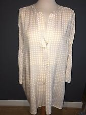 NWT ERFO PALE GREY, GOLD & WHITE SPOTTED TUNIC STYLE LONG BLOUSE 30 RRP £79.99
