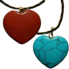 Cadenas corazón duo jaspe rojo turquelita joyas colgantes piedras semipreciosas