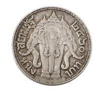 1917 (BE2460) THAILAND SIAM RAMA VI 1 BAHT SILVER COIN THREE HEADED ELEPHANT