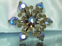 WOW WOWZA Sparkling AB Blue Rhinestone Star Vintage 50's XX Showy Brooch 565ag0
