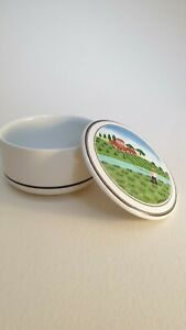 Quality Villeroy & Boch Porcelain Trinket Pot Rural Scene