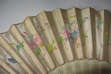 ANCIEN EVENTAIL DECOR FLEURS SUR SOIE XIX EME ANTIQUE FRENCH SILK FAN