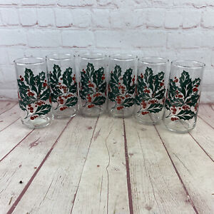 Set of 6 Vintage 1950's Boscul Peanut Butter Christmas Holly Drinking Glasses