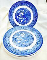 "4 piece Set Vintage Blue Willow Salad Dessert Bread & Butter Plates 7"" Unmarked"