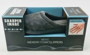 Sharper Image Slippers Mens New Memory Foam Gray Medium