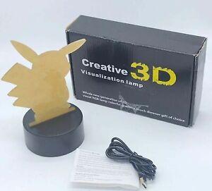 Creative 3D Visualization Lamp Pokemon Pikachu Red Blue Green NEW