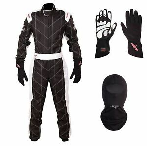 LRP Adult Kart Racing Suit Package - Black and White