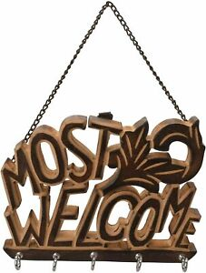 Decorative Most Welcome Wooden Key Holder Wall Hanging 5 Hook Keys Organizer