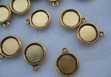 20 x Antique Gold 12mm Round Cabochon Settings Pendant Trays Blanks Double-sided